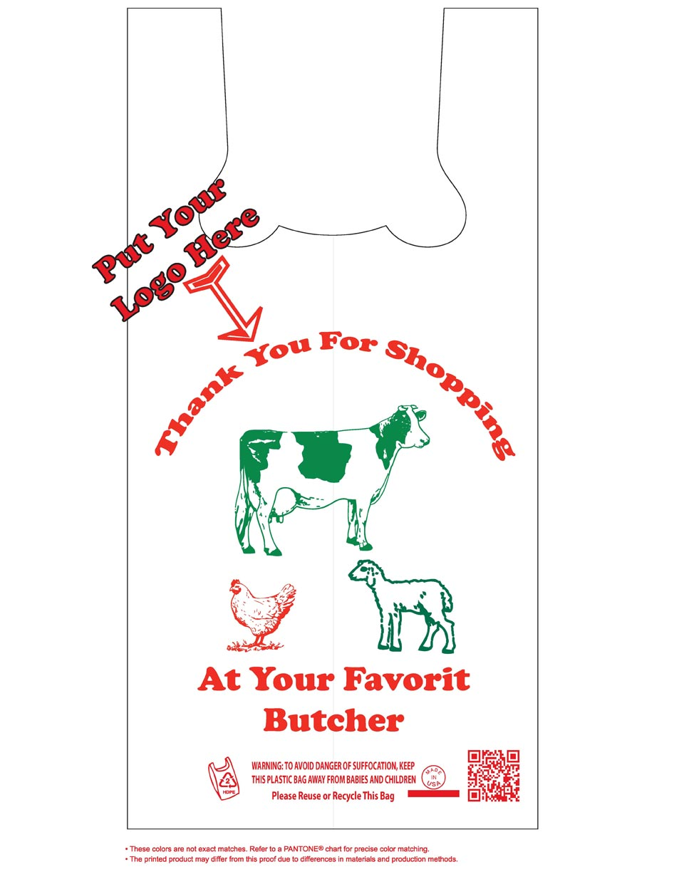Butcher plastic bags plastic meat bags for sale ans for Personalized t shirt bags